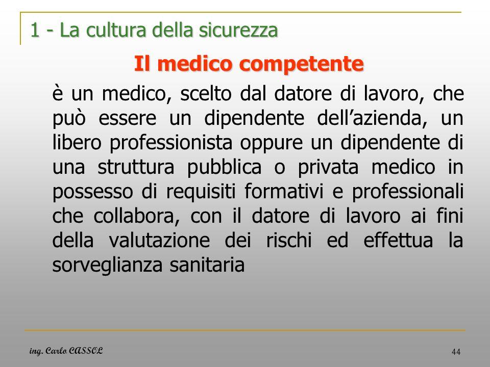 ing. Carlo CASSOL 44 1 - La cultura della sicurezza Il medico competente è un medico, scelto dal datore di lavoro, che può essere un dipendente dellaz