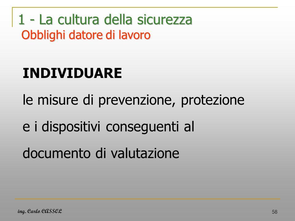 ing. Carlo CASSOL 58 1 - La cultura della sicurezza Obblighi datore di lavoro INDIVIDUARE le misure di prevenzione, protezione e i dispositivi consegu