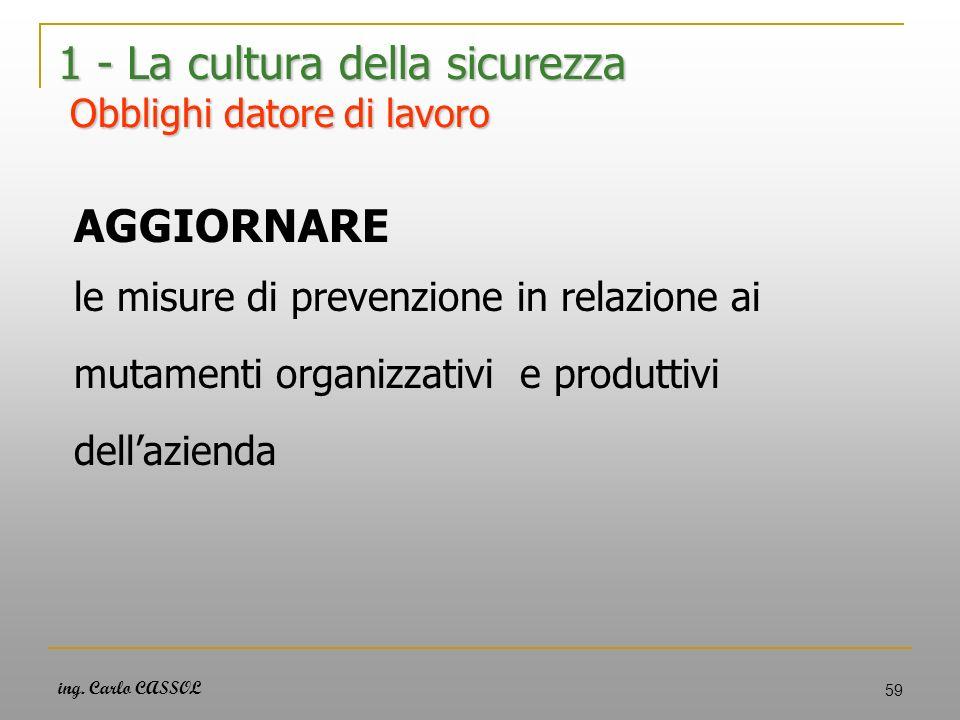 ing. Carlo CASSOL 59 1 - La cultura della sicurezza Obblighi datore di lavoro AGGIORNARE le misure di prevenzione in relazione ai mutamenti organizzat