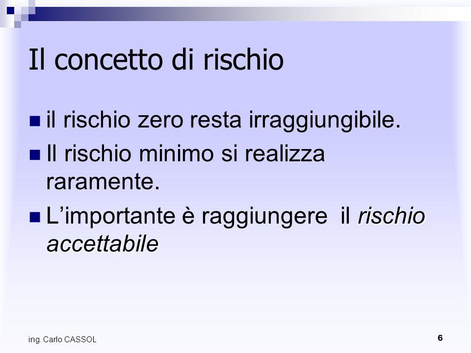 6 ing. Carlo CASSOL Il concetto di rischio il rischio zero resta irraggiungibile. Il rischio minimo si realizza raramente. rischio accettabile Limport