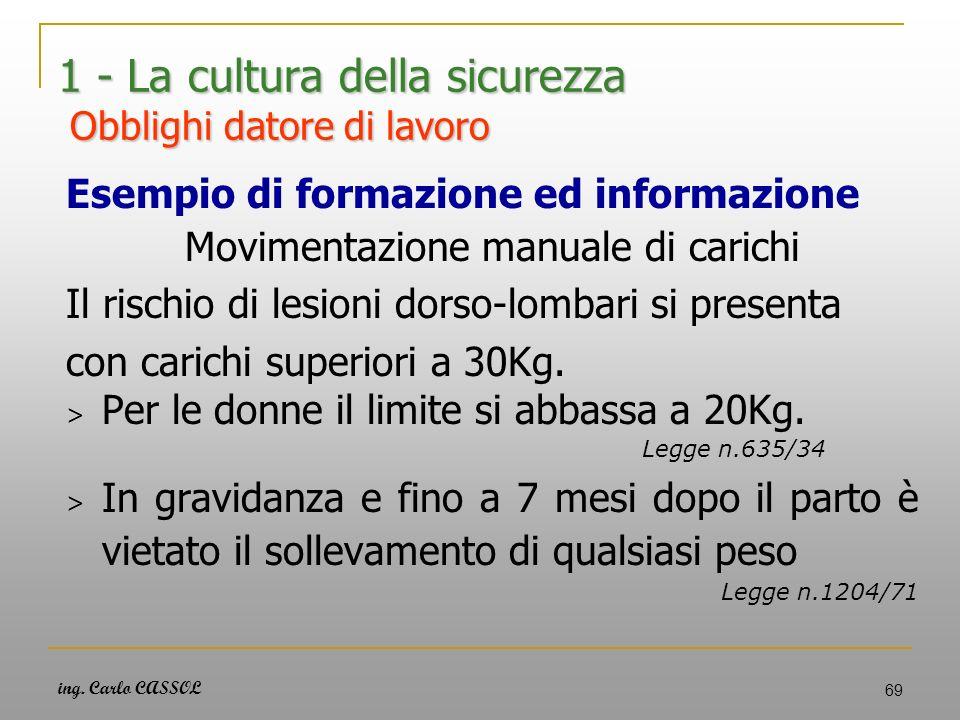 ing. Carlo CASSOL 69 1 - La cultura della sicurezza Obblighi datore di lavoro Esempio di formazione ed informazione Movimentazione manuale di carichi