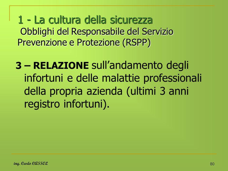 ing. Carlo CASSOL 80 1 - La cultura della sicurezza Obblighi del Responsabile del Servizio Prevenzione e Protezione (RSPP) 3 – RELAZIONE sullandamento