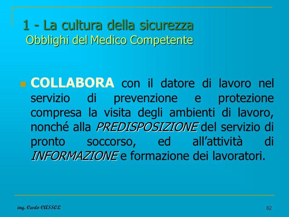 ing. Carlo CASSOL 82 1 - La cultura della sicurezza Obblighi del Medico Competente PREDISPOSIZIONE INFORMAZIONE COLLABORA con il datore di lavoro nel