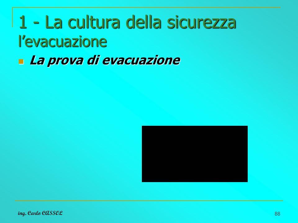 ing. Carlo CASSOL 88 1 - La cultura della sicurezza levacuazione La prova di evacuazione La prova di evacuazione