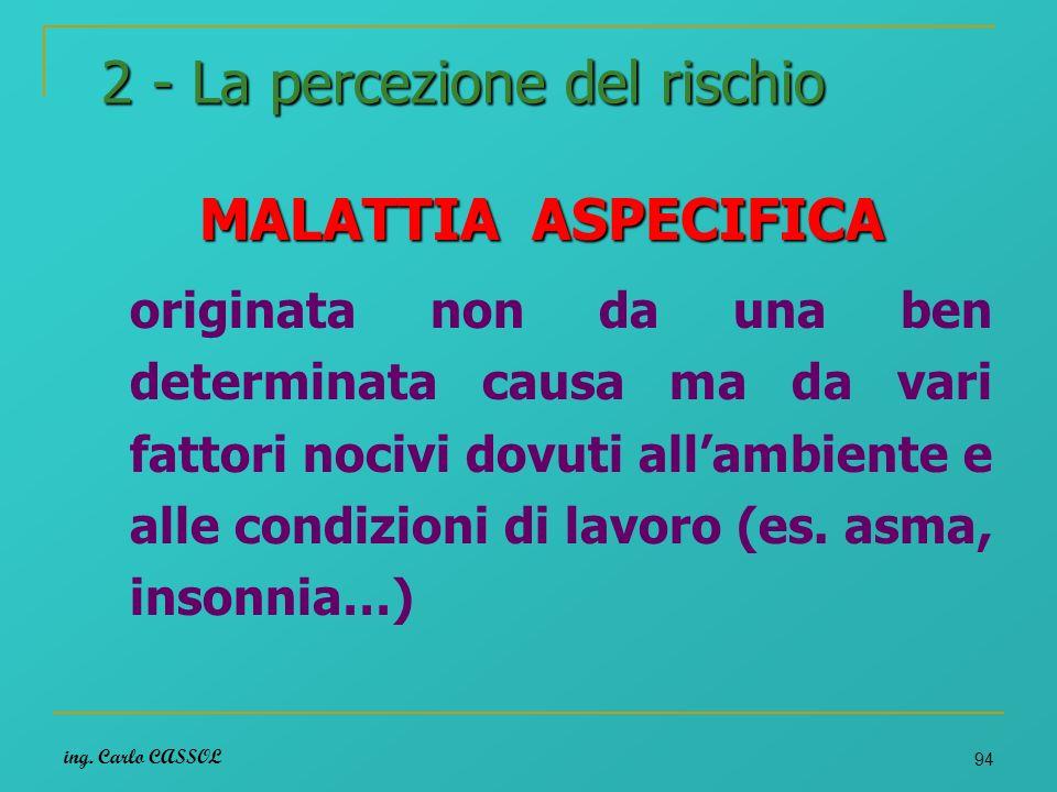 ing. Carlo CASSOL 94 2 - La percezione del rischio MALATTIA ASPECIFICA originata non da una ben determinata causa ma da vari fattori nocivi dovuti all