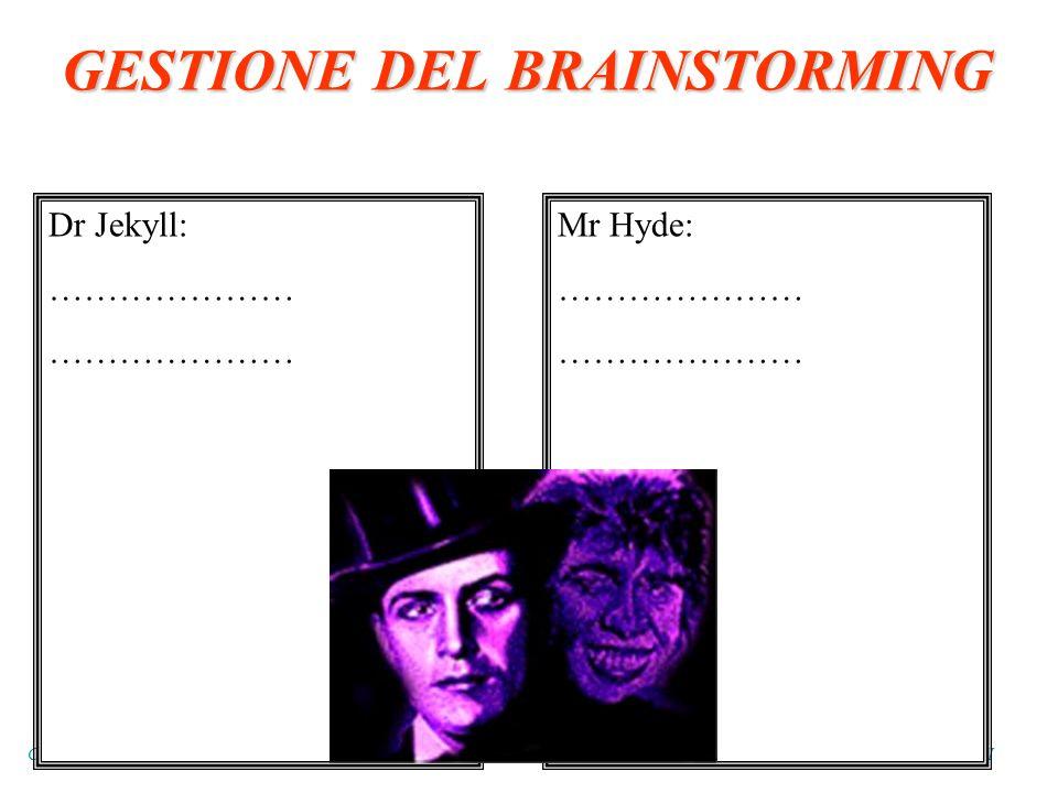 C0RSO TUTOR FORTIC B1 - MILANO APRILE 2003 - GRUPPO DI BERGAMO : BASSI – CRISCUOLO – GEROSA - GIAMPRETI Dr Jekyll: ………………… Mr Hyde: ………………… GESTIONE DEL BRAINSTORMING