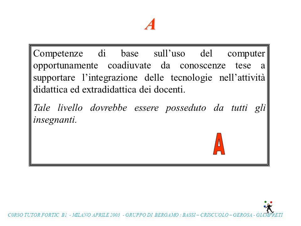 C0RSO TUTOR FORTIC B1 - MILANO APRILE 2003 - GRUPPO DI BERGAMO : BASSI – CRISCUOLO – GEROSA - GIAMPRETI BRAINSTORMING ON
