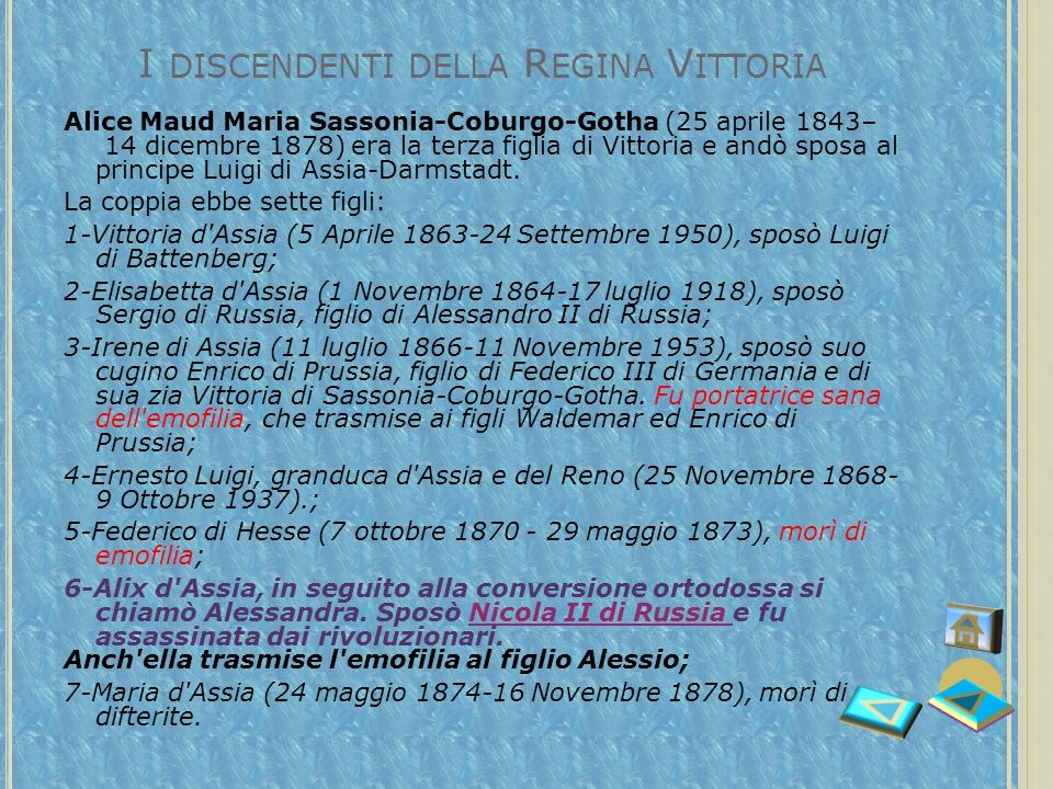 In questa tabella viene presentato lalbero genealogico della Regina Vittoria, con lindicazione del genotipo relativo allemofilia
