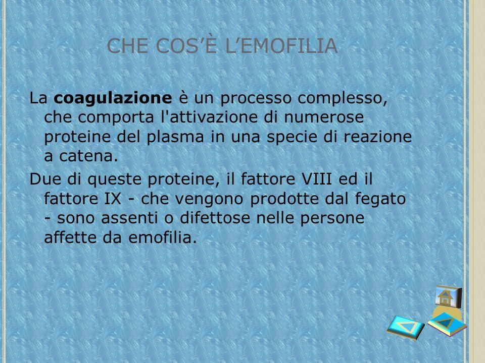 CHE COSÈ LEMOFILIA L'emofilia L'emofilia è una malattia ereditaria dovuta ad un difetto della coagulazione del sangue. piastrinefibrina La coagulazion