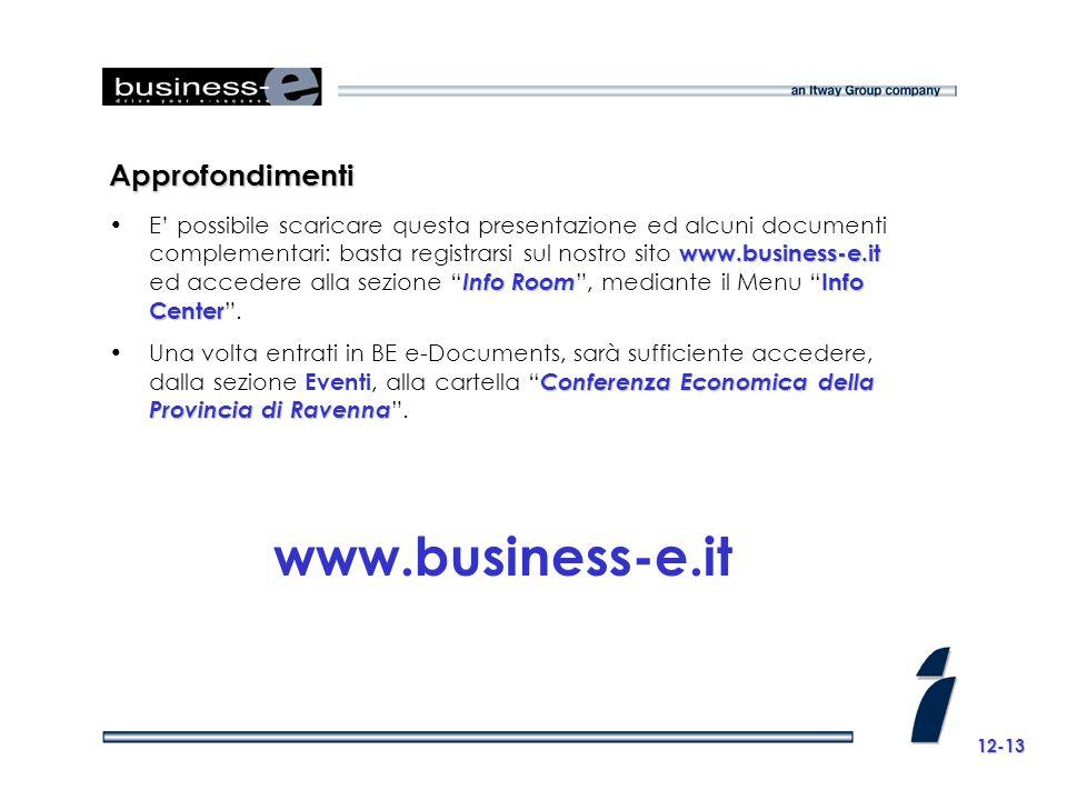 Approfondimenti www.business-e.it Info Room Info CenterE possibile scaricare questa presentazione ed alcuni documenti complementari: basta registrarsi sul nostro sito www.business-e.it ed accedere alla sezione Info Room, mediante il Menu Info Center.