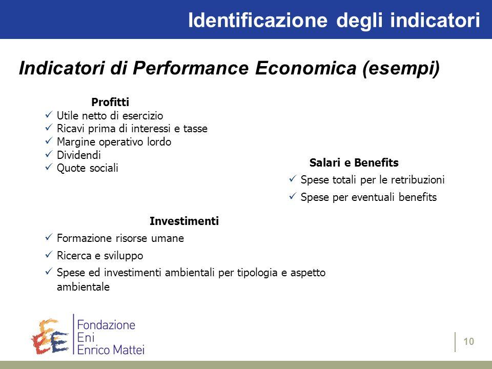 10 Identificazione degli indicatori Profitti Utile netto di esercizio Ricavi prima di interessi e tasse Margine operativo lordo Dividendi Quote social