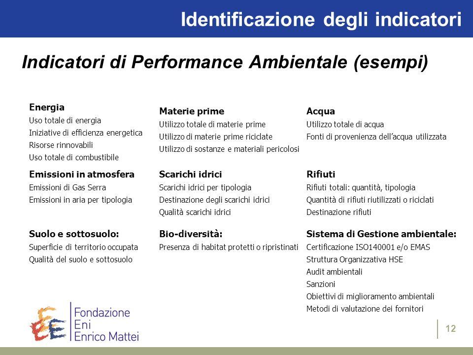 12 Identificazione degli indicatori Indicatori di Performance Ambientale (esempi) Energia Uso totale di energia Iniziative di efficienza energetica Ri