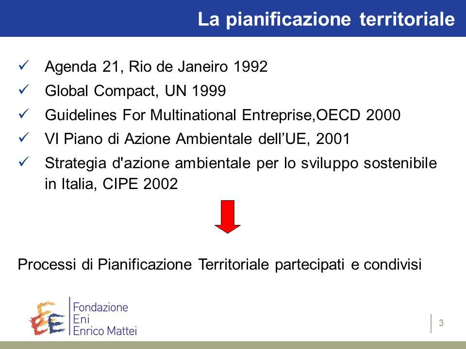 3 La pianificazione territoriale Agenda 21, Rio de Janeiro 1992 Global Compact, UN 1999 Guidelines For Multinational Entreprise,OECD 2000 VI Piano di