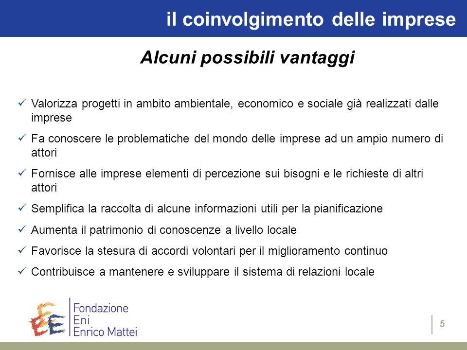 5 il coinvolgimento delle imprese Alcuni possibili vantaggi Valorizza progetti in ambito ambientale, economico e sociale già realizzati dalle imprese