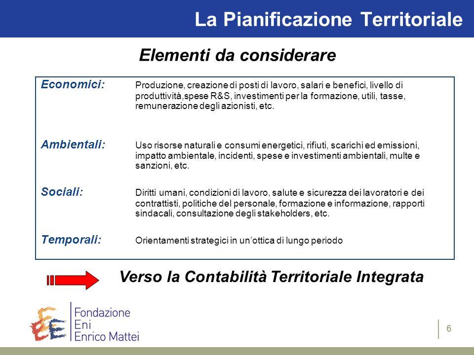 6 La Pianificazione Territoriale Elementi da considerare Economici: Produzione, creazione di posti di lavoro, salari e benefici, livello di produttivi