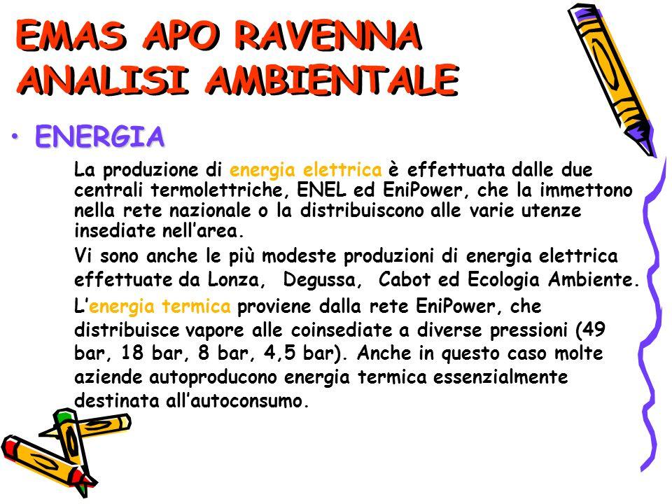 EMAS APO RAVENNA ANALISI AMBIENTALE La produzione di energia elettrica è effettuata dalle due centrali termolettriche, ENEL ed EniPower, che la immettono nella rete nazionale o la distribuiscono alle varie utenze insediate nellarea.