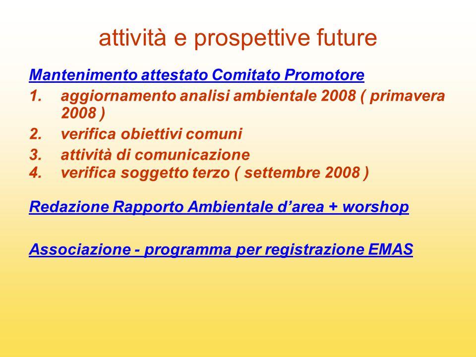 attività e prospettive future Mantenimento attestato Comitato Promotore 1.aggiornamento analisi ambientale 2008 ( primavera 2008 ) 2.verifica obiettiv