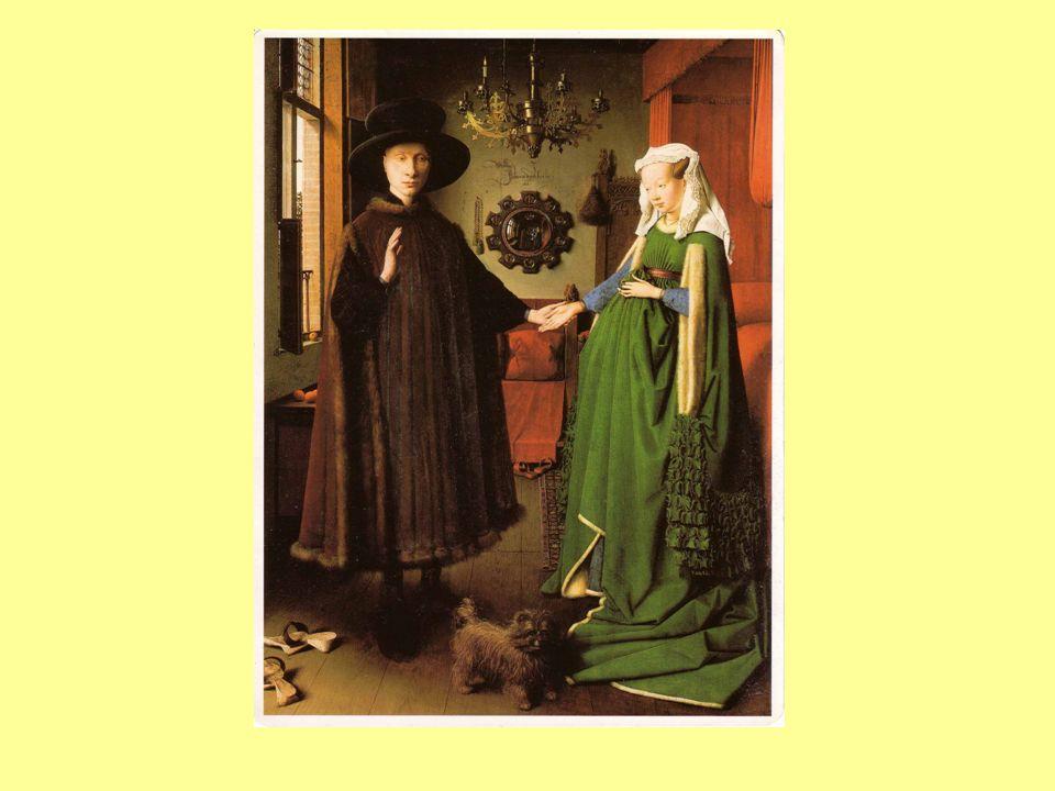 Il pittore rappresenta la scena anche da dietro, riflessa in uno specchio convesso; si vedono i due sposi e una figura di fronte a loro, variamente interpretata, secondo alcuni si tratta dellautore del quadro