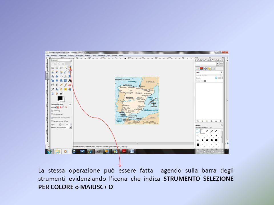 La stessa operazione può essere fatta agendo sulla barra degli strumenti evidenziando licona che indica STRUMENTO SELEZIONE PER COLORE o MAIUSC+ O