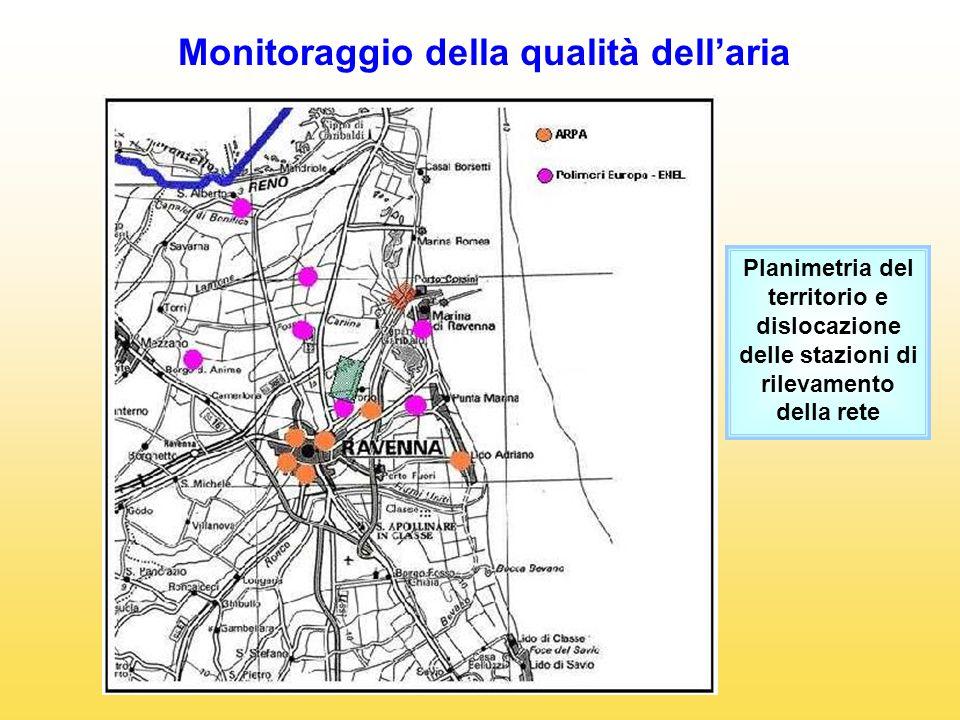 Monitoraggio della qualità dellaria Planimetria del territorio e dislocazione delle stazioni di rilevamento della rete