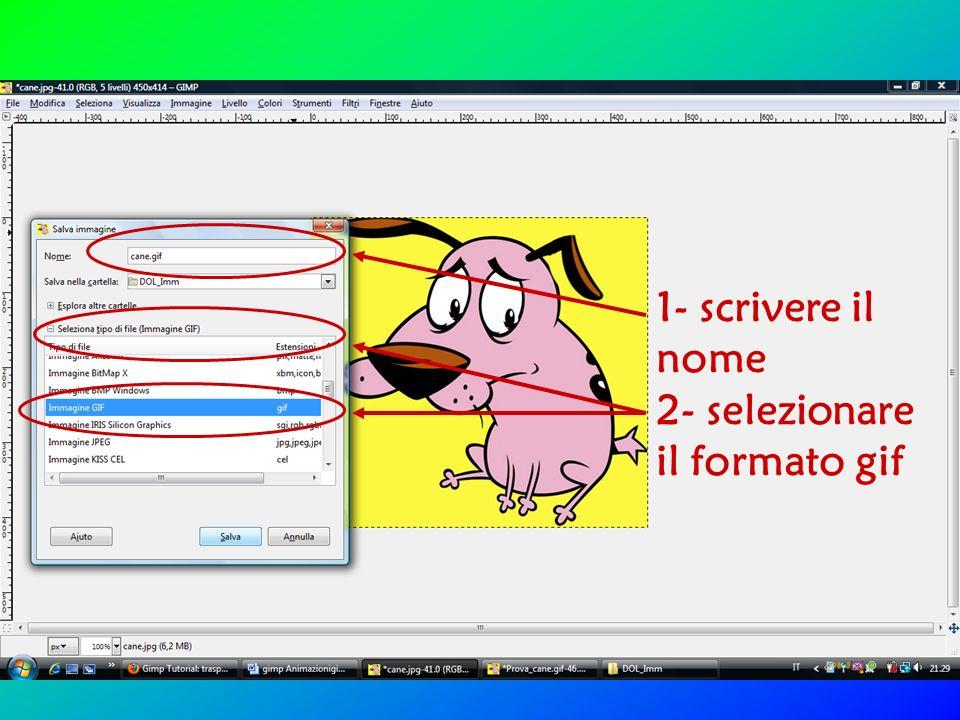 1- scrivere il nome 2- selezionare il formato gif