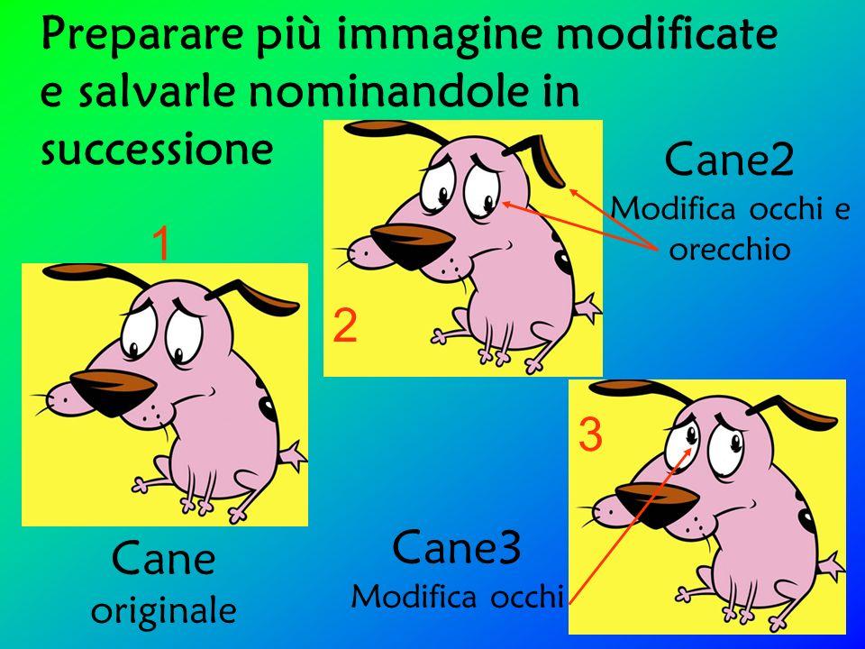 Preparare più immagine modificate e salvarle nominandole in successione Cane originale Cane2 Modifica occhi e orecchio Cane3 Modifica occhi 3 1 2