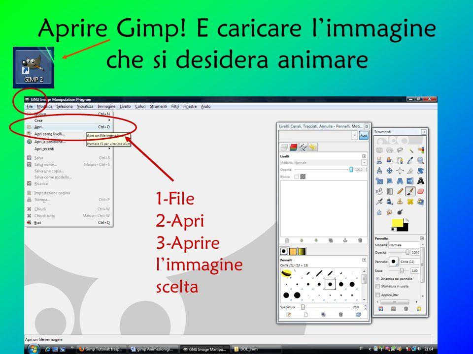 Aprire Gimp! E caricare limmagine che si desidera animare 1-File 2-Apri 3-Aprire limmagine scelta