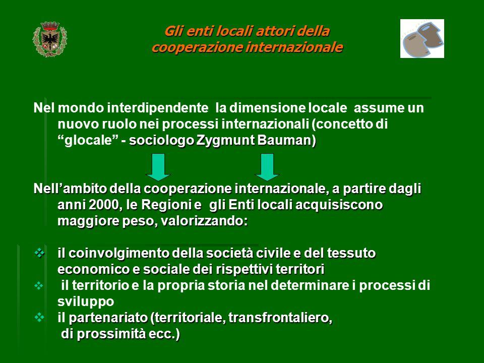 Base normativa nazionale Legge 68/1993 Gli Enti Locali possono destinare l´8 per mille del proprio bilancio per sostenere programmi di cooperazione allo sviluppo ed interventi di solidarietà internazionale.