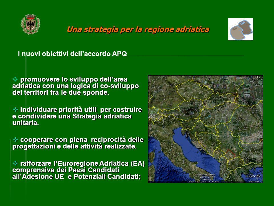 I nuovi obiettivi dellaccordo APQ promuovere lo sviluppo dellarea adriatica con una logica di co-sviluppo dei territori fra le due sponde.