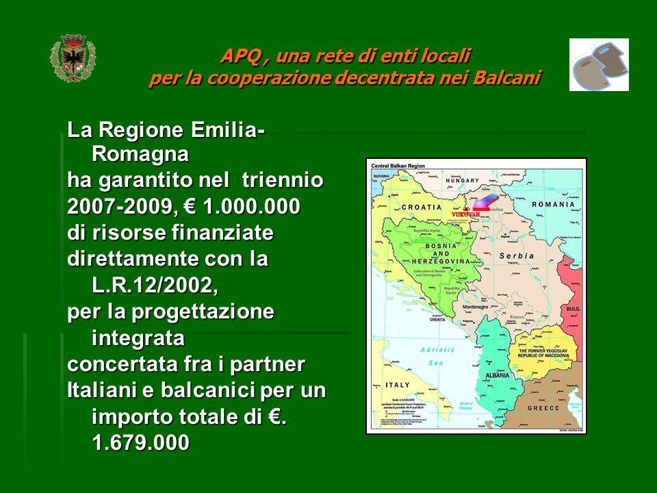 La Regione Emilia- Romagna ha garantito nel triennio 2007-2009, 1.000.000 di risorse finanziate direttamente con la L.R.12/2002, per la progettazione integrata concertata fra i partner Italiani e balcanici per un importo totale di.