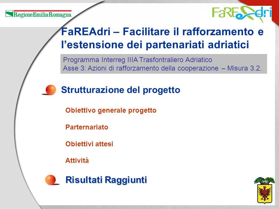 FaREAdri – Facilitare il rafforzamento e lestensione dei partenariati adriatici Strutturazione del progetto Obiettivo generale progetto Parternariato