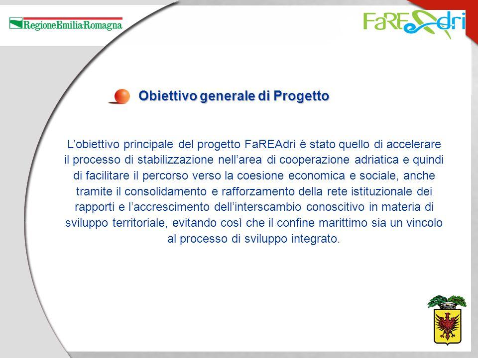 Obiettivo generale di Progetto Lobiettivo principale del progetto FaREAdri è stato quello di accelerare il processo di stabilizzazione nellarea di coo