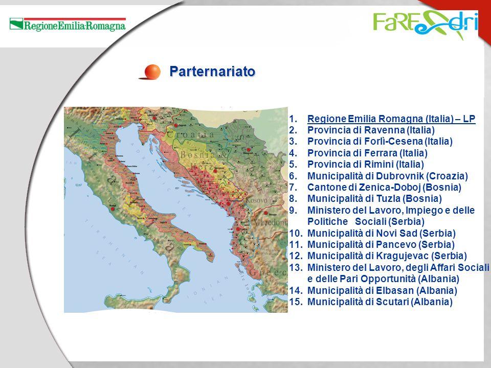 Parternariato 1.Regione Emilia Romagna (Italia) – LP 2.Provincia di Ravenna (Italia) 3.Provincia di Forlì-Cesena (Italia) 4.Provincia di Ferrara (Ital
