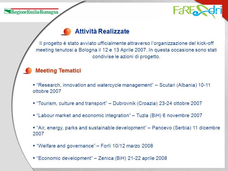 Attività Realizzate Il progetto è stato avviato ufficialmente attraverso lorganizzazione del kick-off meeting tenutosi a Bologna il 12 e 13 Aprile 200