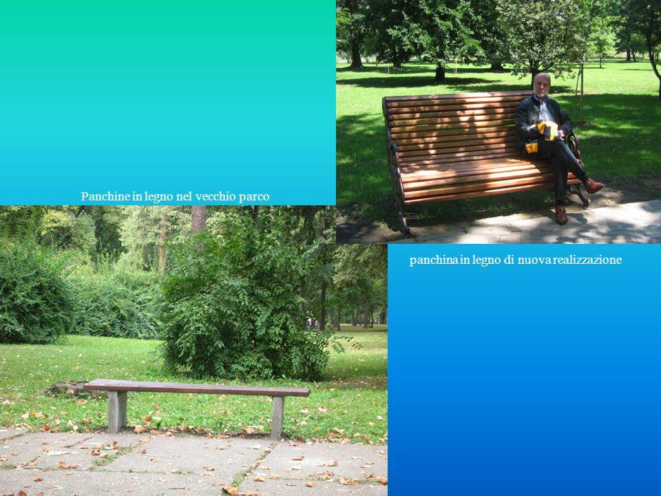 Panchine in legno nel vecchio parco panchina in legno di nuova realizzazione