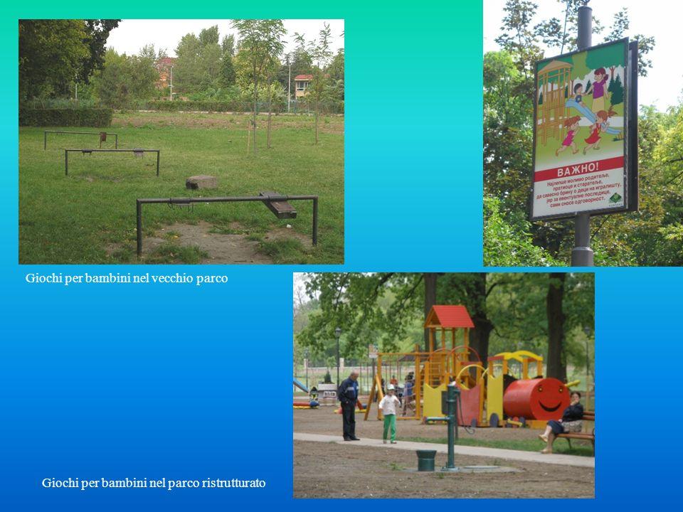 Giochi per bambini nel vecchio parco Giochi per bambini nel parco ristrutturato