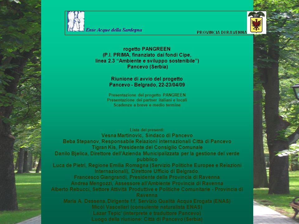 Risultati del progetto -accordo operativo con Comune Pancevo realizzazione gazebo in legno rimovibili per lo svolgimento di piccole attività didattiche per bambini e adulti; -piantumazione di specie locali per abbellimento giardini; -realizzazione di un nucleo didattico completo di piante indicatrici di inquinamento e cartellonistica descrittiva; -realizzazione di cartellonistica didattica di cui: 4 pannelli realizzati su progetto dei partner e dellAgenzia su: fitodepurazione, ruolo delle piante indicatrici di inquinamento, ruolo del carbon silk e attività sportive da svolgersi allinterno del percorso vita a completamento della pista, e 11 pannelli da realizzarsi a cura delle scuole locali anche tramite un concorso a premi promosso dal Comune.