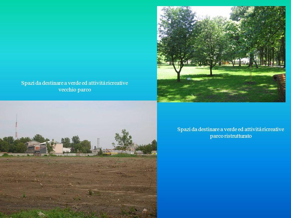 Spazi da destinare a verde ed attività ricreative vecchio parco Spazi da destinare a verde ed attività ricreative parco ristrutturato