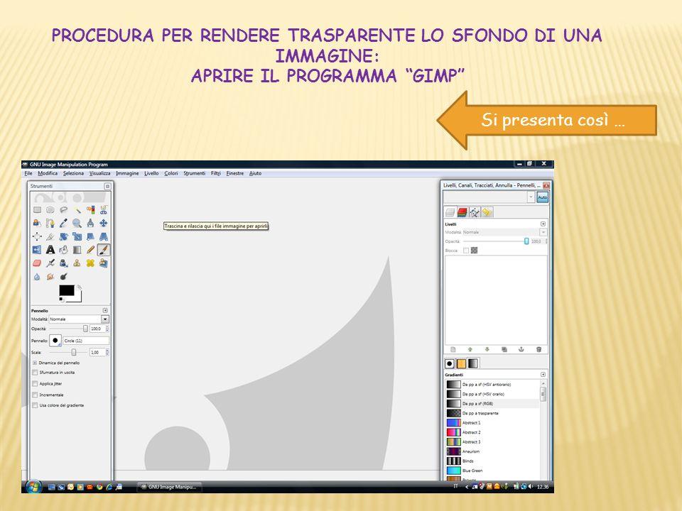 Per aprire il file immagine, due possibilità: a)Trascinare e rilasciare qui i file immagine per aprirli (slide precedente) b)Selezionare dal menu dei comandi: File e poi Apri (in questa slide)