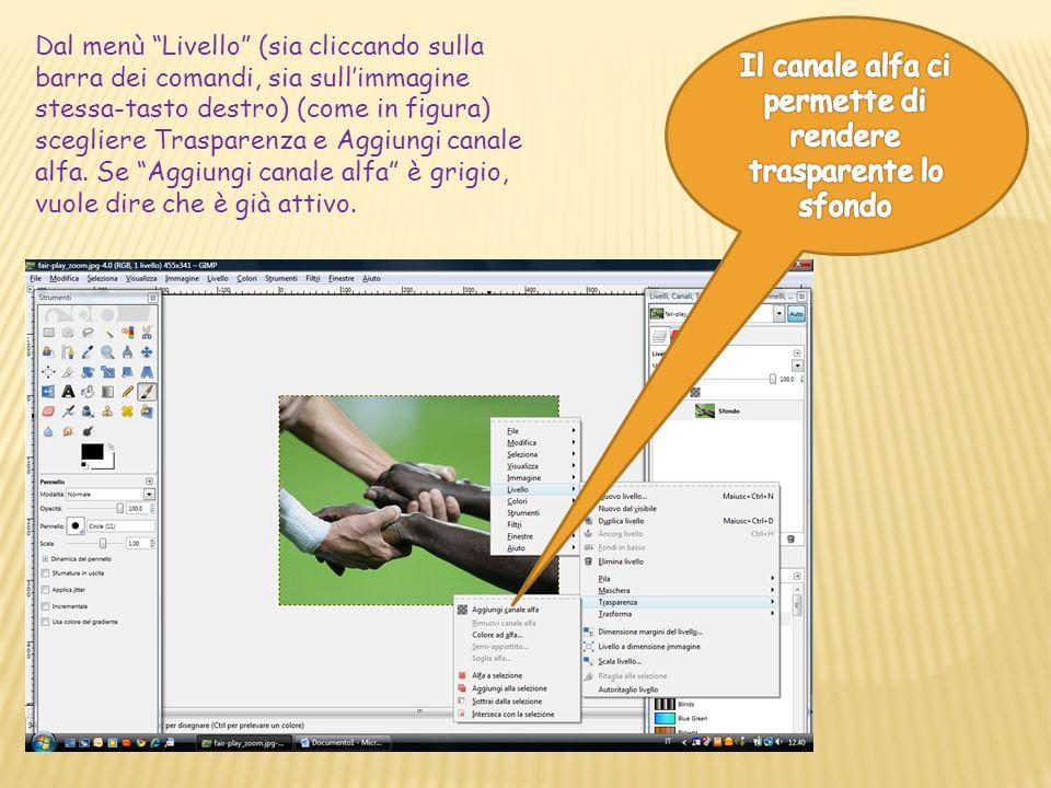 Dal menù Livello (sia cliccando sulla barra dei comandi, sia sullimmagine stessa-tasto destro) (come in figura) scegliere Trasparenza e Aggiungi canale alfa.
