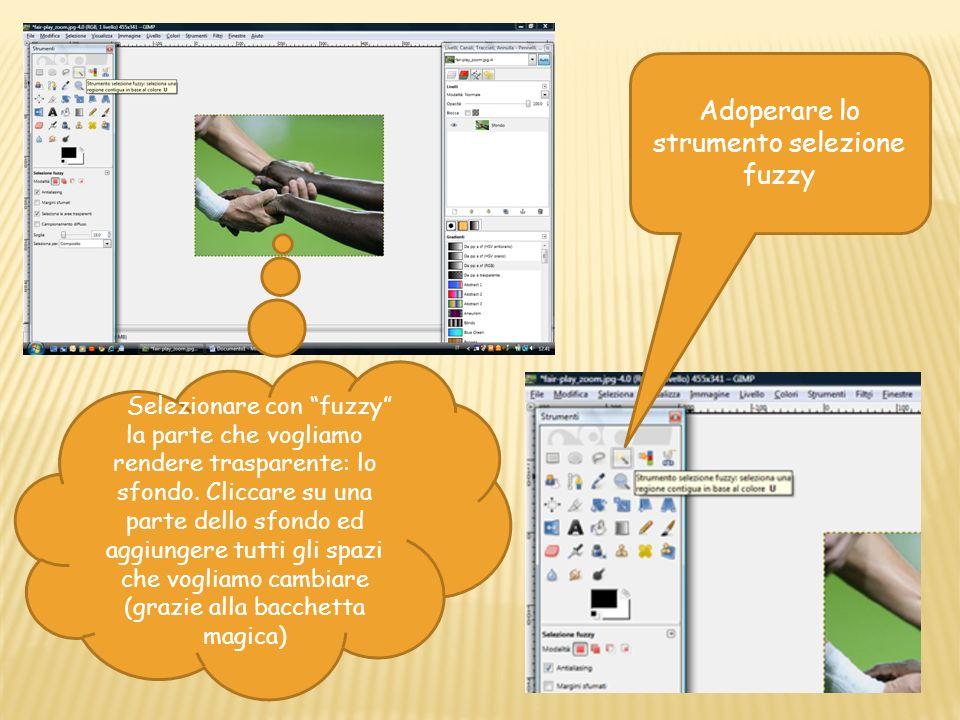 Adoperare lo strumento selezione fuzzy Selezionare con fuzzy la parte che vogliamo rendere trasparente: lo sfondo.