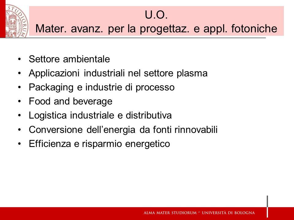 U.O. Mater. avanz. per la progettaz. e appl. fotoniche Settore ambientale Applicazioni industriali nel settore plasma Packaging e industrie di process