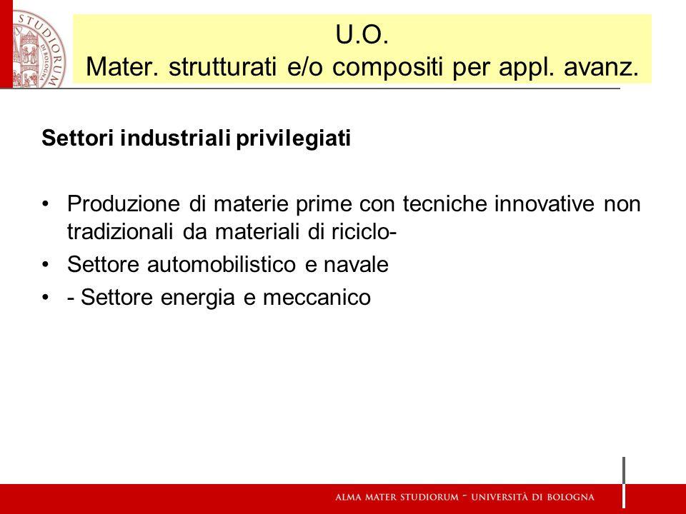 U.O. Mater. strutturati e/o compositi per appl. avanz. Settori industriali privilegiati Produzione di materie prime con tecniche innovative non tradiz