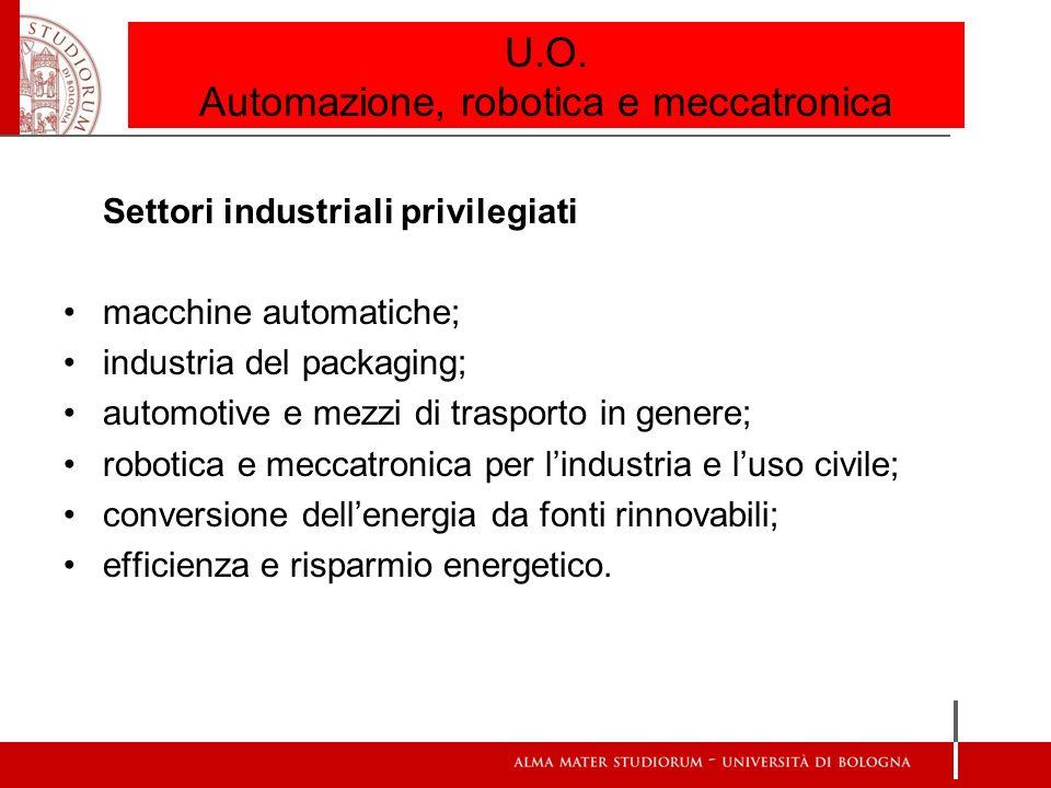 U.O. Automazione, robotica e meccatronica Settori industriali privilegiati macchine automatiche; industria del packaging; automotive e mezzi di traspo