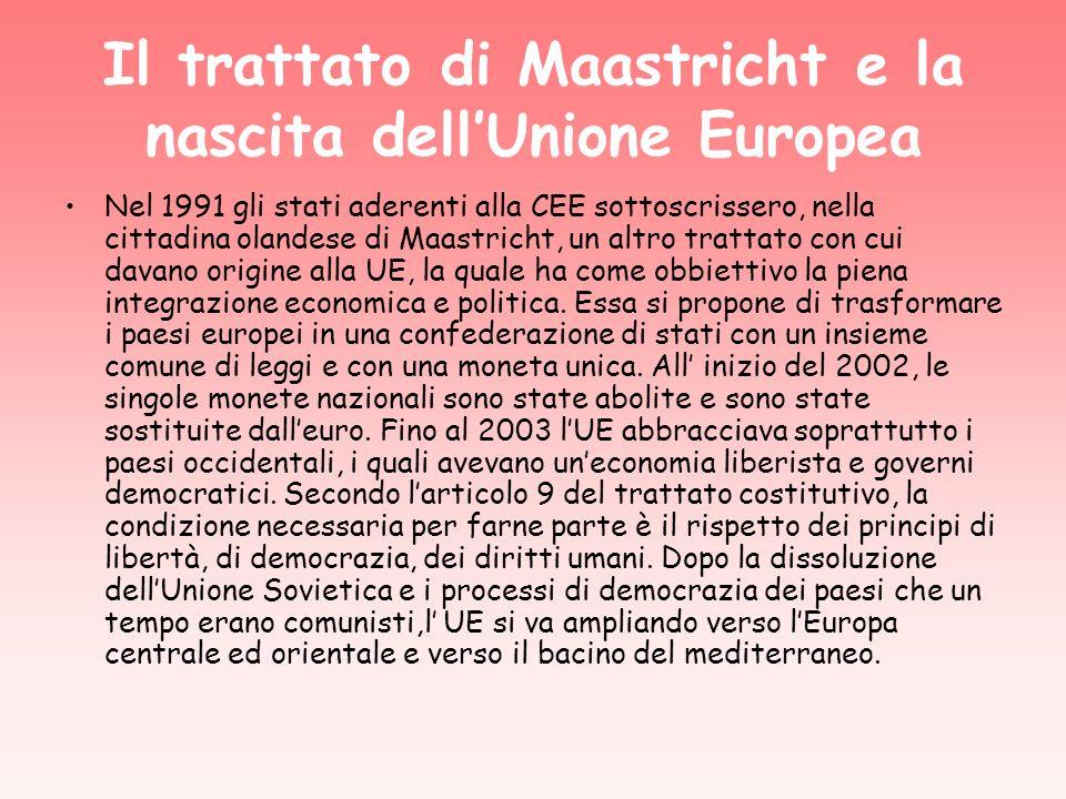 Il trattato di Maastricht e la nascita dellUnione Europea Nel 1991 gli stati aderenti alla CEE sottoscrissero, nella cittadina olandese di Maastricht, un altro trattato con cui davano origine alla UE, la quale ha come obbiettivo la piena integrazione economica e politica.
