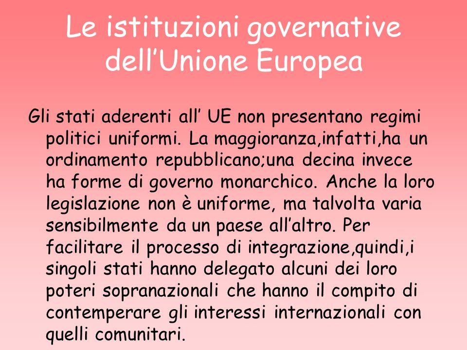 Le istituzioni governative dellUnione Europea Gli stati aderenti all UE non presentano regimi politici uniformi. La maggioranza,infatti,ha un ordiname