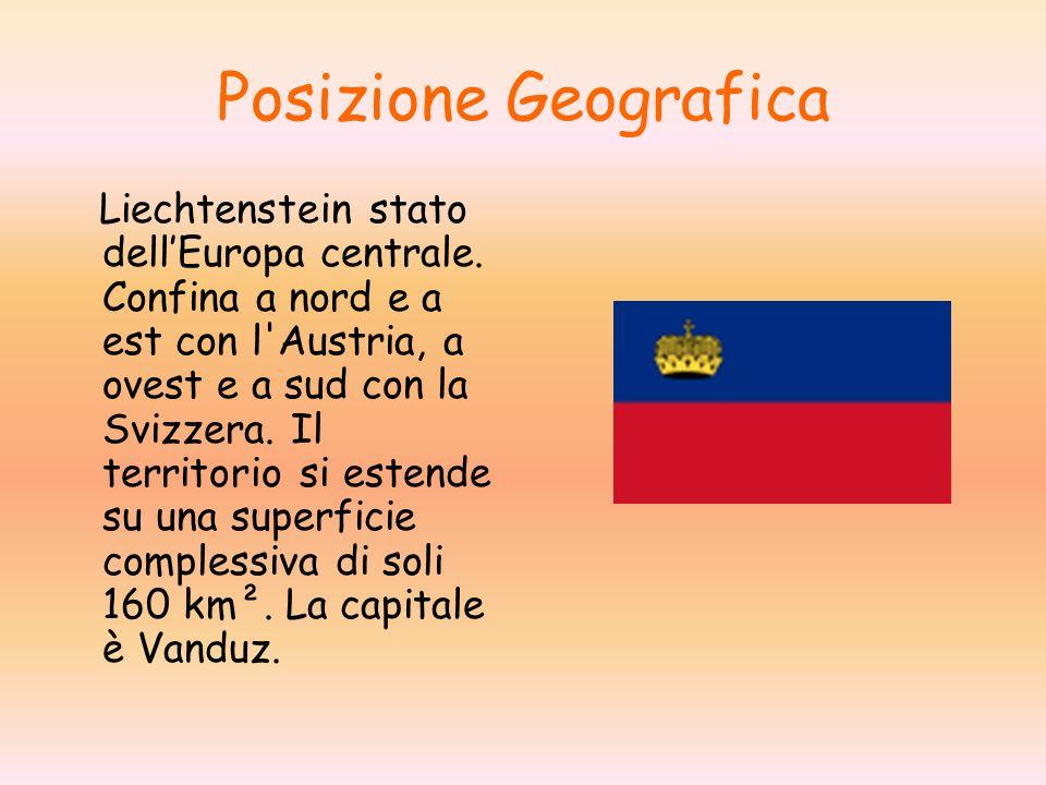 Posizione Geografica Liechtenstein stato dellEuropa centrale. Confina a nord e a est con l'Austria, a ovest e a sud con la Svizzera. Il territorio si