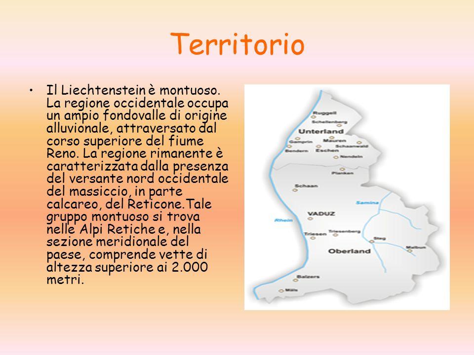 Territorio Il Liechtenstein è montuoso. La regione occidentale occupa un ampio fondovalle di origine alluvionale, attraversato dal corso superiore del