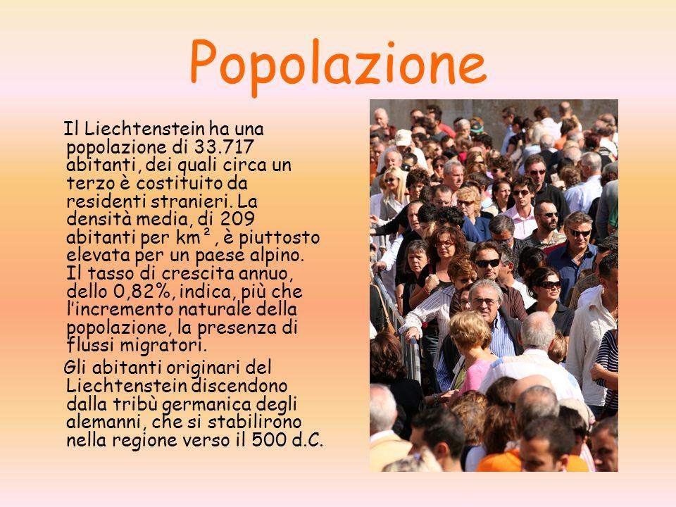 Popolazione Il Liechtenstein ha una popolazione di 33.717 abitanti, dei quali circa un terzo è costituito da residenti stranieri. La densità media, di