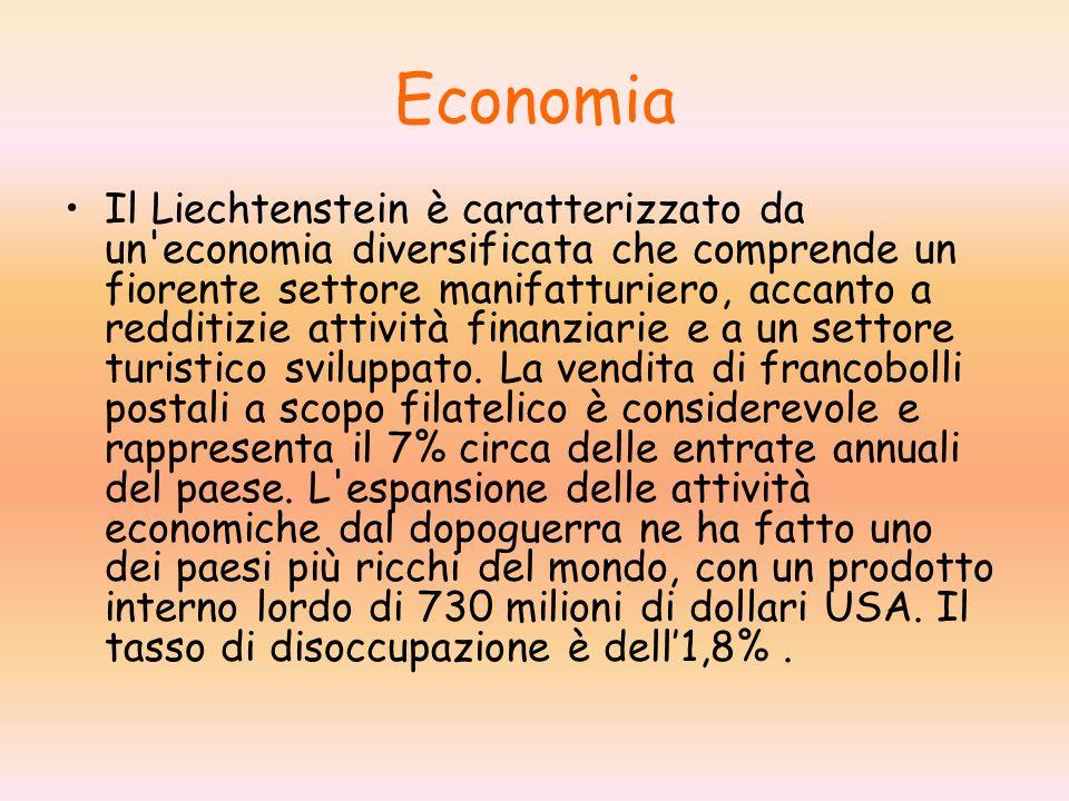 Economia Il Liechtenstein è caratterizzato da un economia diversificata che comprende un fiorente settore manifatturiero, accanto a redditizie attività finanziarie e a un settore turistico sviluppato.